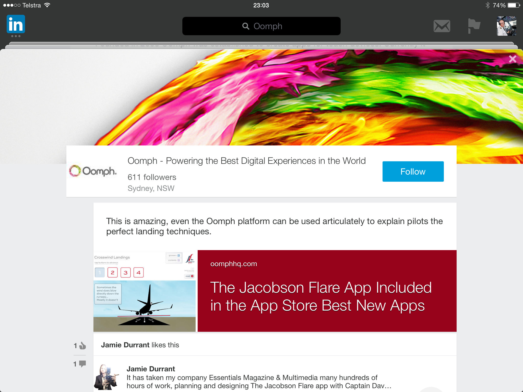 Oomph on LinkedIn for the Jacobson Flare